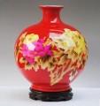 红镶金牡丹花瓶