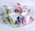 孔雀杯珐琅瓷咖啡杯