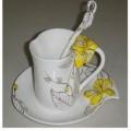 黄色花朵珐琅彩咖啡杯定做