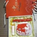中国红瓷烤瓷笔U盘鼠标套装定做,特色商务办公展会礼品