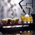 纯锡坊黄瓷五彩云龙茶具六件套