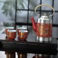 纯锡坊红瓷五彩云龙茶具六件套