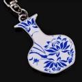 青花荷花纹钥匙扣,花瓶形状钥匙扣定做