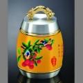 岭南特色商务礼品黄瓷纯锡茶叶罐定做