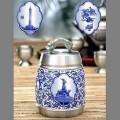 广东文化特色青花瓷纯锡茶叶罐定制