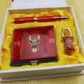 中国特色红瓷鼠标三件套