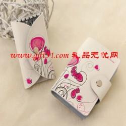 红花色真皮卡包两件套(卡包+钥匙包)