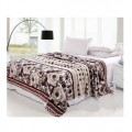 巧克力色牡丹法莱绒毯 舒绒休闲毯