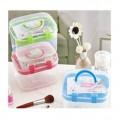 双层手提小药箱 化妆品收纳盒 针线盒