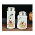 马上封猴陶瓷杯茶叶罐两件套