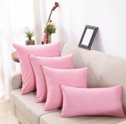 粉红色亚麻纯色抱枕定做