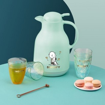 SNOOPY史努比清漾玻璃红胆保温壶杯组