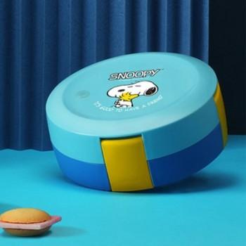 史努比不锈钢圆形饭盒儿童便当饭盒