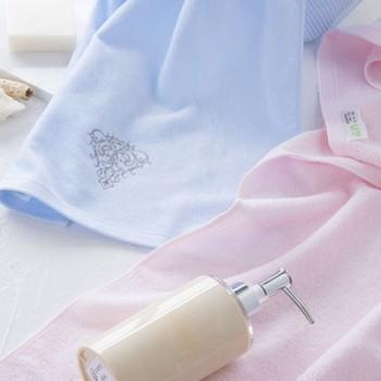 內野UCHINO素色高低毛绣花面巾